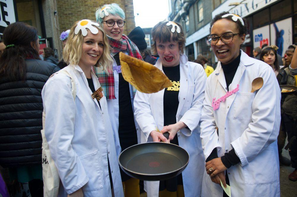 Pancake day in london, spitalfields race
