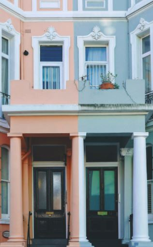 blue and pink house front