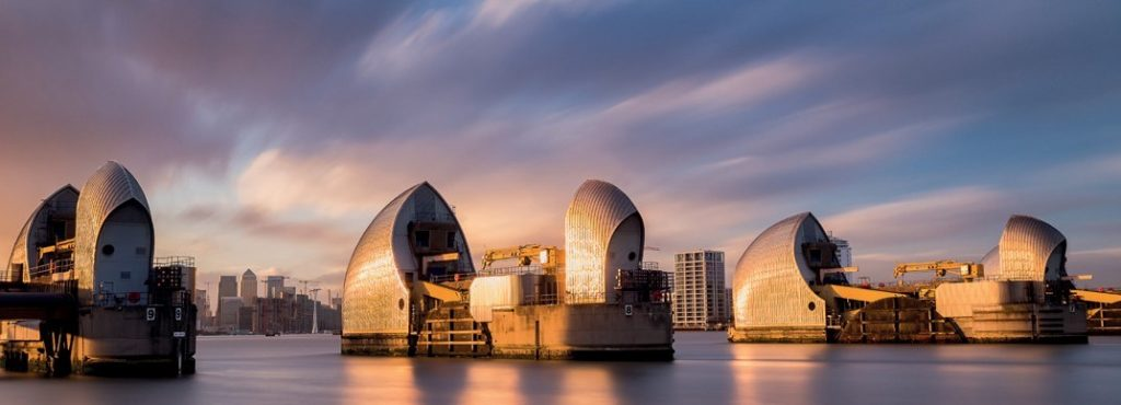 sunset at the thames barrier